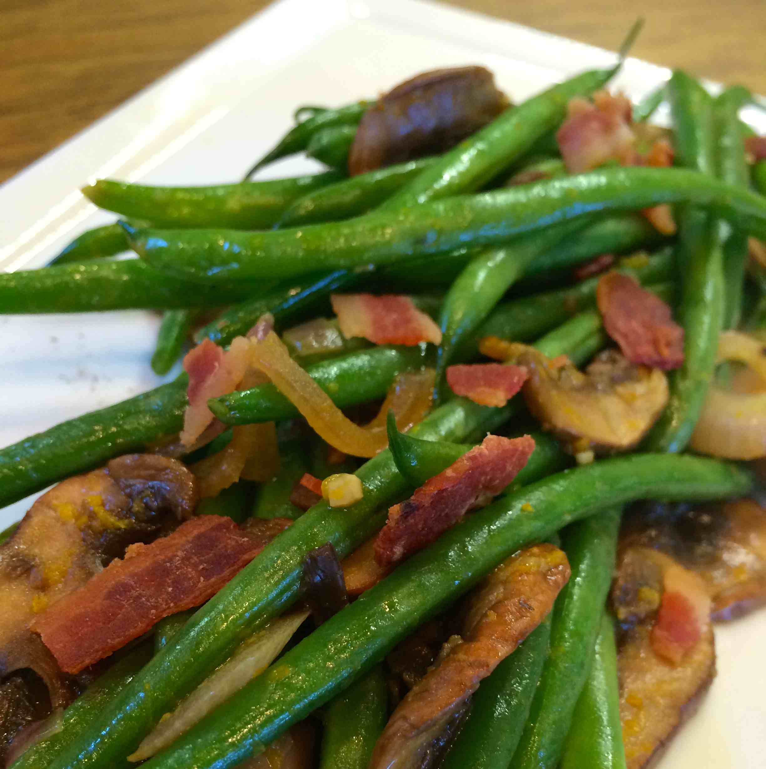 Orange Green Beans with Mushrooms